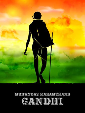 India background with Nation Hero and Freedom Fighter Mahatma Gandhi for Independence Day or Gandhi Jayanti Ilustração Vetorial