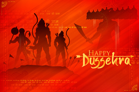 Lord Rama and Ravana in Dussehra Navratri festival of India poster Illustration