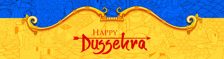 Bow and Arrow of Rama in Happy Dussehra festival of India background