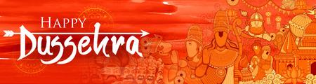 Lord Ram, Sita, Laxmana, Hanuman and Ravana in Dussehra Navratri festival of India poster Illustration