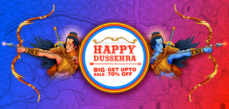Lord Rama and Laxmana in Navratri festival of India sale promotion ans advertisement poster for Happy Dussehra