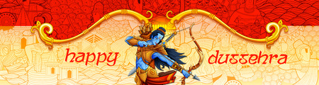 Lord Rama in Navratri festival of India poster for Happy Dussehra Ilustrace
