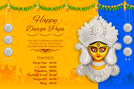 Diosa Durga Face en Happy Durga Puja Subh Navratri background