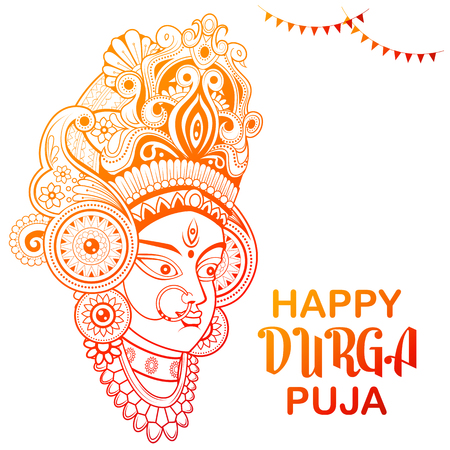 Goddess Durga Face in Happy Durga Puja Subh Navratri background Illustration