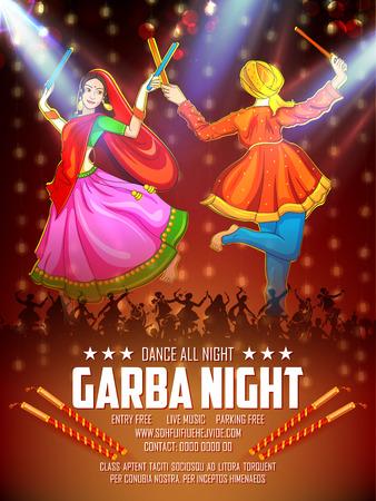 Couple playing Dandiya in disco Garba Night poster for Navratri Dussehra festival of India 版權商用圖片 - 109607511