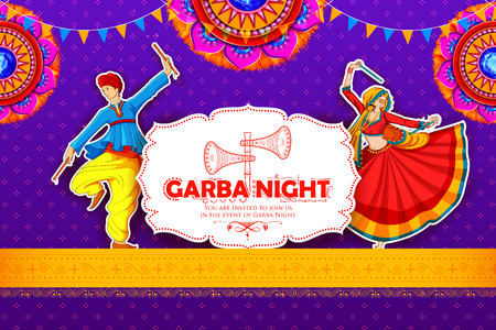 Couple playing Dandiya in disco Garba Night poster for Navratri Dussehra festival of India