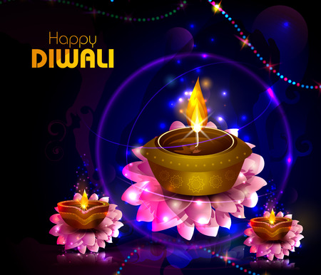 Happy Diwali light festival of India greeting background Stock Vector - 109607399