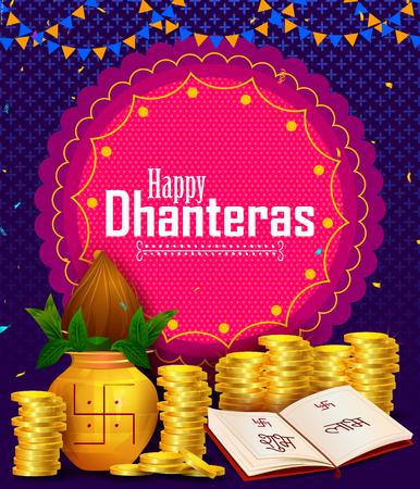 Joyeux festival des lumières de Dhanteras Diwali de l'Inde