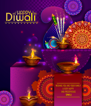 Happy Diwali light festival of India greeting