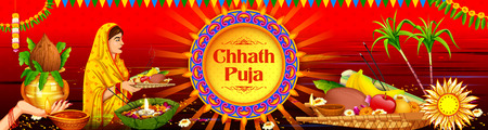 Happy Chhath Puja Holiday  for Sun festival of India Illusztráció