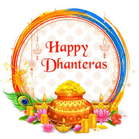 Pièce d'or en pot pour la célébration de Dhanteras sur le joyeux festival des lumières de Dussehra en Inde