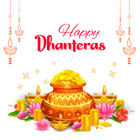 Gold coin in pot for Dhanteras celebration on Happy Dussehra light festival of India Illusztráció