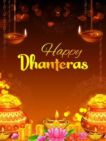 Gold coin in pot for Dhanteras celebration on Happy Dussehra light festival of India Illustration