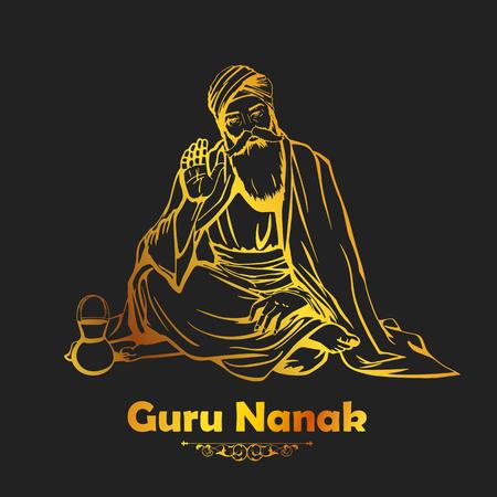 illustration of Happy Gurpurab, Guru Nanak Jayanti festival of Sikh celebration background Vektorové ilustrace