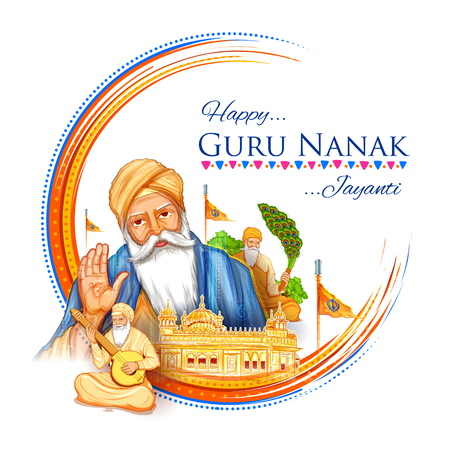 illustration of Happy Gurpurab, Guru Nanak Jayanti festival of Sikh celebration background Ilustração Vetorial