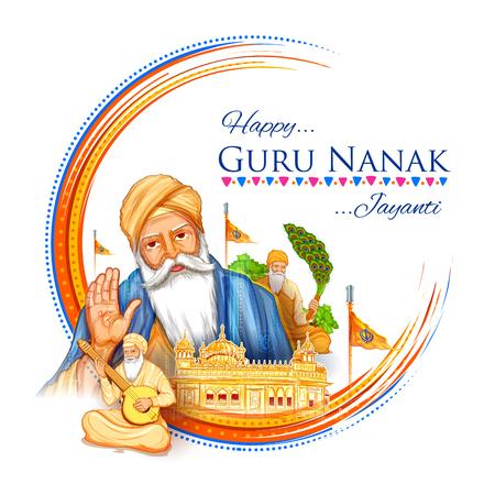 Illustration von Happy Gurpurab, Guru Nanak Jayanti Festival von Sikh Feier Hintergrund Vektorgrafik