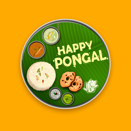 Happy Pongal Holiday Harvest Festival of Tamil Nadu South India greeting background Vettoriali