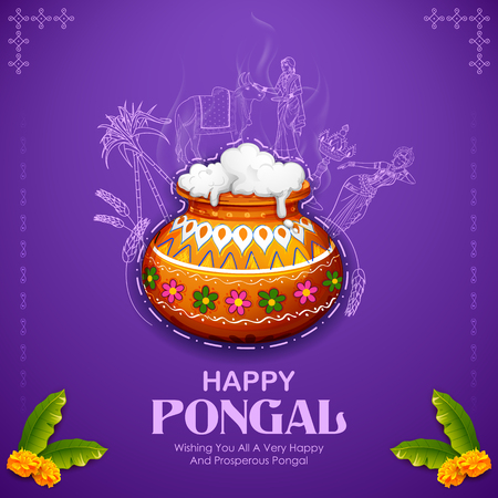 Happy Pongal Holiday Harvest Festival of Tamil Nadu South India greeting background Çizim