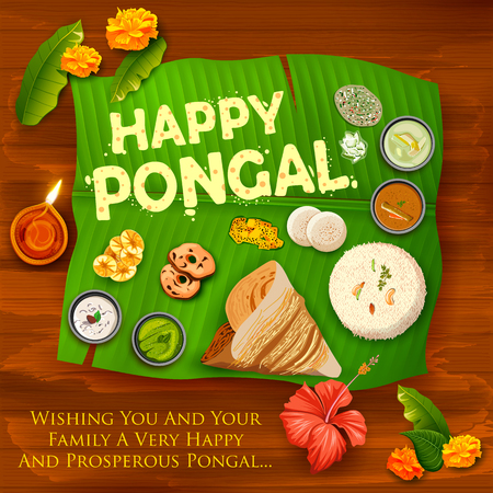 Happy Pongal Holiday Harvest Festival of Tamil Nadu South India greeting background Stock Photo