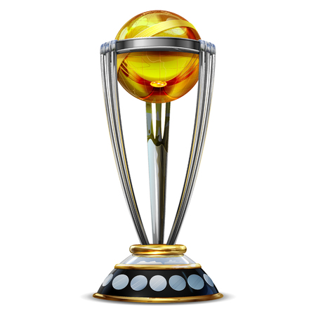 Realistic Cricket World Cup Trophy on plain Stock Illustratie