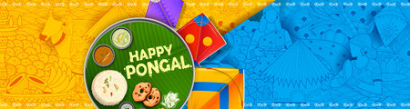 Happy Pongal Holiday Harvest Festival of Tamil Nadu South India greeting