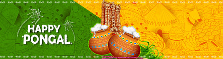 illustration of Happy Pongal Holiday Harvest Festival of Tamil Nadu South India greeting background Illustration