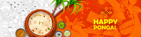 Happy Pongal Holiday Harvest Festival of Tamil Nadu South India greeting Illustration