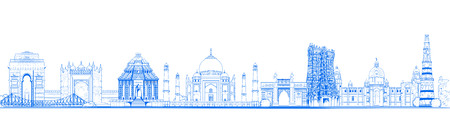 illustration of Famous Indian monument and Landmark like Taj Mahal, India Gate, Qutub Minar and Charminar for Happy Republic Day of India Vetores