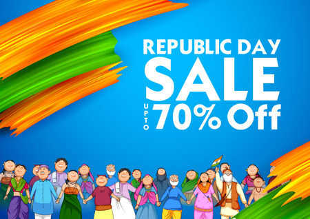 People of different religion showing Unity in Diversity on Happy Republic Day of India Sale Promotion