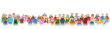 People of different religion showing Unity in Diversity on Happy Republic Day of India 矢量图像
