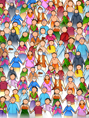 People of different religion showing Unity in Diversity on Happy Republic Day of India Ilustração
