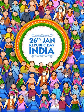 Les gens de religion différente montrant l'unité dans la diversité le jour heureux de la République de l'Inde Vecteurs