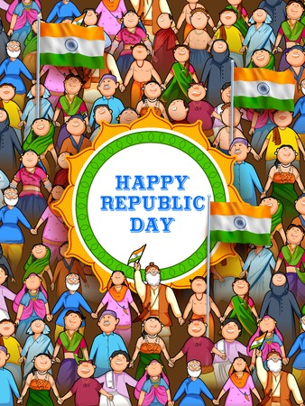 Les gens de religion différente montrant l'unité dans la diversité le jour heureux de la République de l'Inde