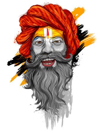 Santo Sadhu de la India para el gran festival y el texto en hindi Kumbh Mela Ilustración de vector