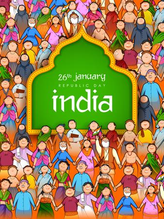 Persone di religione diversa che mostrano l'unità nella diversità durante la felice festa della Repubblica dell'India