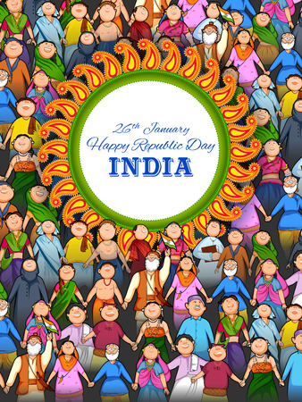 People of different religion showing Unity in Diversity on Happy Republic Day of India Illustration