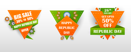 Sale Promotion Advertisement banner for 26th January, Happy Republic Day of India Illustration