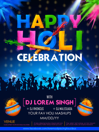 Colorful promotional  for Festival of Colors celebration with message in Hindi Holi Hain meaning Its Holi Illustration