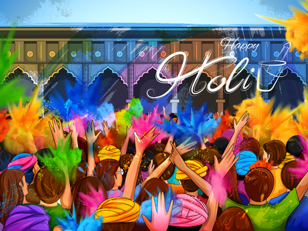 Colorful promotional for Festival of Colors celebration with message in Hindi Holi Hain meaning Its Holi