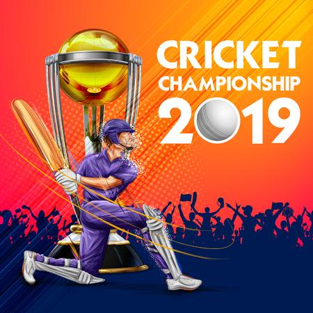 Illustration du batteur jouant aux sports de championnat de cricket 2019 Vecteurs