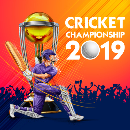 Illustration of batsman playing cricket championship sports 2019 Vector Illustration