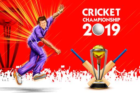 illustration du bowling bowler dans les sports de championnat de cricket 2019