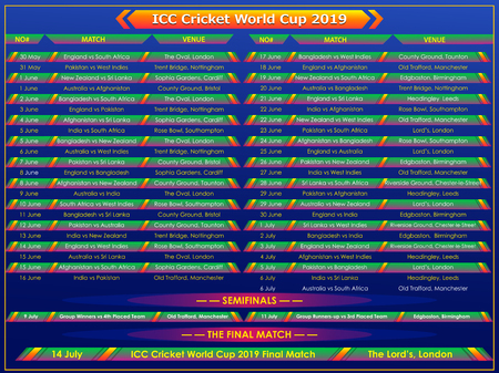 Illustration of Cricket match schedule sports