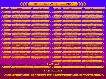 Illustration of Cricket match schedule sports