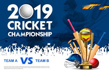 Illustration von Spielerschläger, Ball und Helm auf Cricket-Sport-Hintergrund