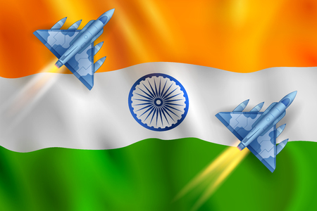 illustration of air strike with jet planes firing bomb against India tricolor flag background