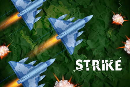 illustration of air strike with jet planes firing bomb