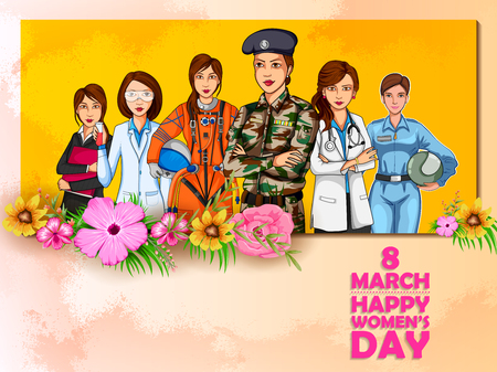 illustration of Happy International Women s Day 8th March greetings background