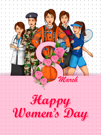 Happy International Women s Day 8th March greetings background