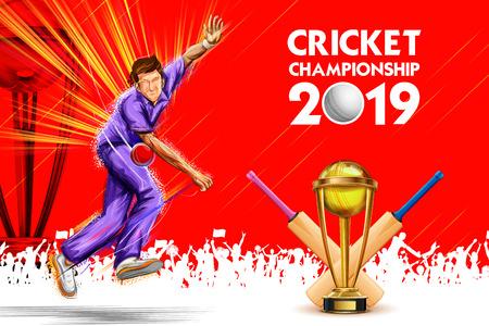 Bowler bowling dans les sports de championnat de cricket 2019